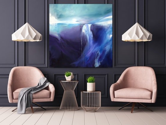 (CreativeWork) Indigo River (large 122x122cm)  by Kat Las. #<Filter:0x00007fa566d88278>. Shop online at Bluethumb.