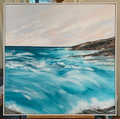 (CreativeWork) Summer's Last Wave by Sharon Rynehart. Acrylic Paint. Shop online at Bluethumb.