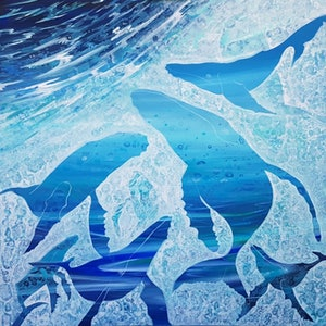 (CreativeWork) Whale Song by Kathy Bierma. arcylic-painting. Shop online at Bluethumb.