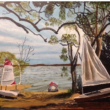 (CreativeWork) Boreen Point  Lake Coothalaba  by Reina Muller. Acrylic Paint. Shop online at Bluethumb.