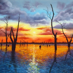 (CreativeWork) Sunrise over Lake Mulwala by Debra Dickson. arcylic-painting. Shop online at Bluethumb.