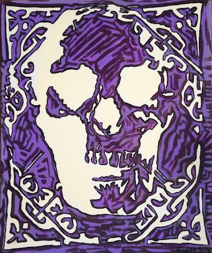 (CreativeWork) Skull' by Sidney Sprague. arcylic-painting. Shop online at Bluethumb.