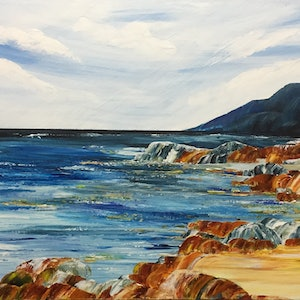 (CreativeWork) Summer in Bicheno  by Julie Dynan. arcylic-painting. Shop online at Bluethumb.