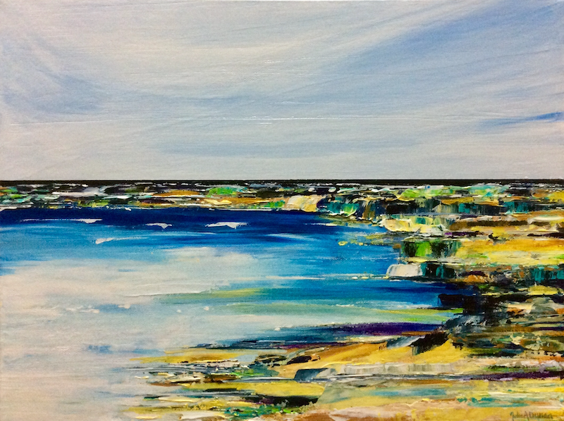 (CreativeWork) Cool & calm by Julie Dynan. arcylic-painting. Shop online at Bluethumb.