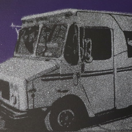 (CreativeWork) Chicago Mail truck stencil Ed. 10 of 10 by James Wilson. Reproduction Print. Shop online at Bluethumb.