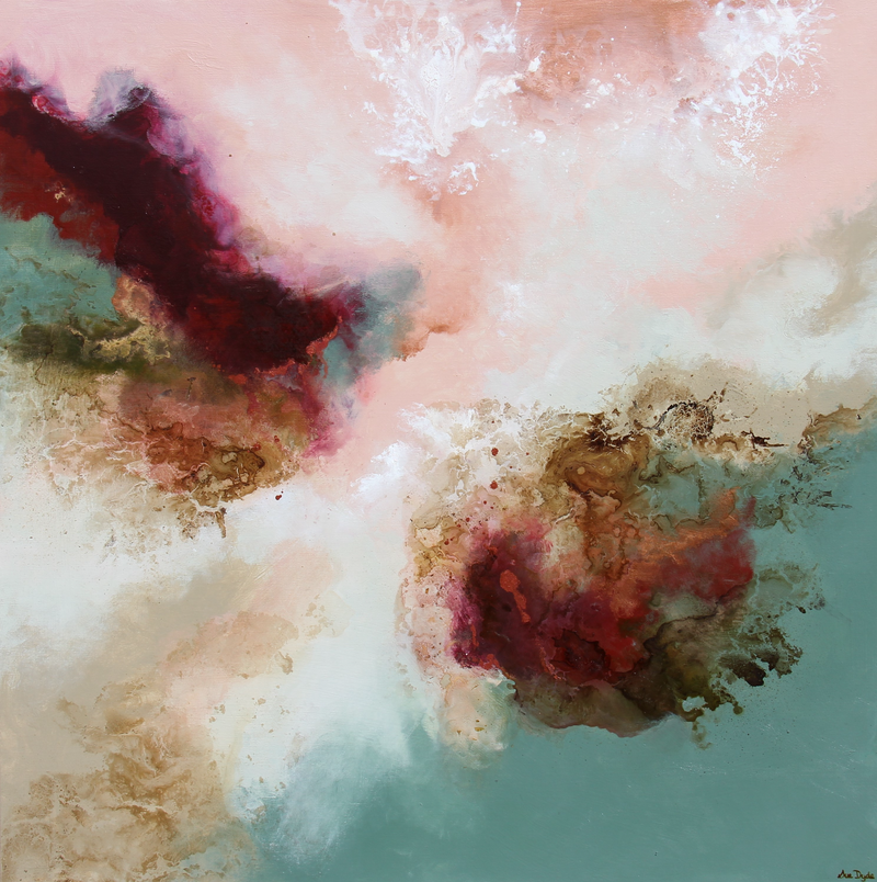 (CreativeWork) Salmon Skies  by Sue Dyde. mixed-media. Shop online at Bluethumb.