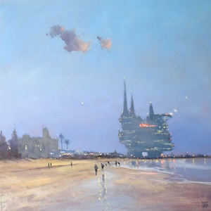 (CreativeWork) Beached-Rig Hotel - seascape fantasy by Mike Barr. oil-painting. Shop online at Bluethumb.