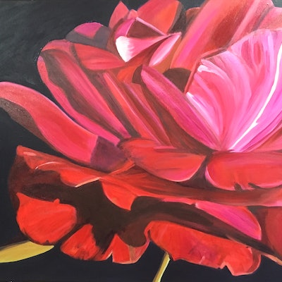 (CreativeWork) Red and Pink Rose by Angella Fernando. acrylic-painting. Shop online at Bluethumb.