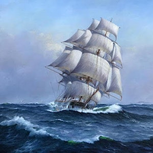 (CreativeWork)  Ship Marco Polo by Ian Hansen. oil-painting. Shop online at Bluethumb.