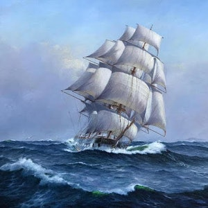 (CreativeWork)  Ship Marco Polo by Ian Hansen. Oil Paint. Shop online at Bluethumb.