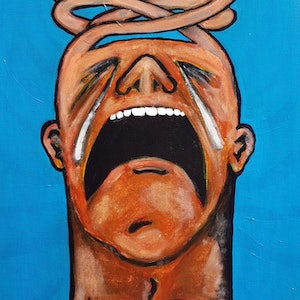(CreativeWork) Social Anxiety ( The agony of public unravelling ) by Luke Lord. arcylic-painting. Shop online at Bluethumb.