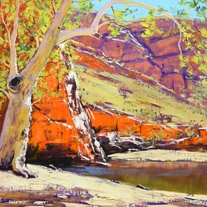 (CreativeWork) Ghost Gum Alice Springs by Graham Gercken. oil-painting. Shop online at Bluethumb.