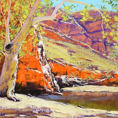 (CreativeWork) Ghost Gum Alice Springs by Graham Gercken. Oil Paint. Shop online at Bluethumb.