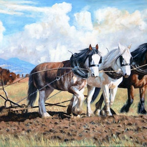 (CreativeWork) Ploughing Under Cloudy Skies by Craig Taylor. oil-painting. Shop online at Bluethumb.