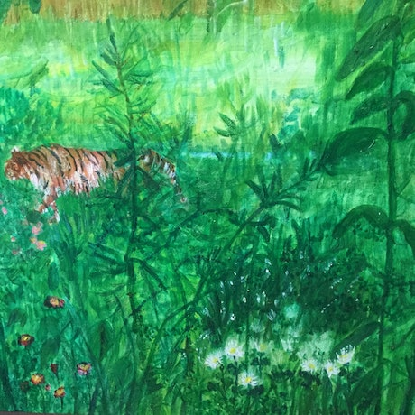 (CreativeWork) There's a tiger in my backyard by Janifer Dobbs. Oil Paint. Shop online at Bluethumb.