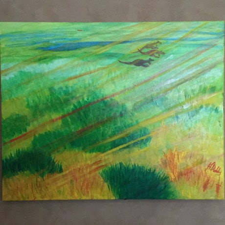 (CreativeWork) Spinifex light by Janifer Dobbs. Oil Paint. Shop online at Bluethumb.