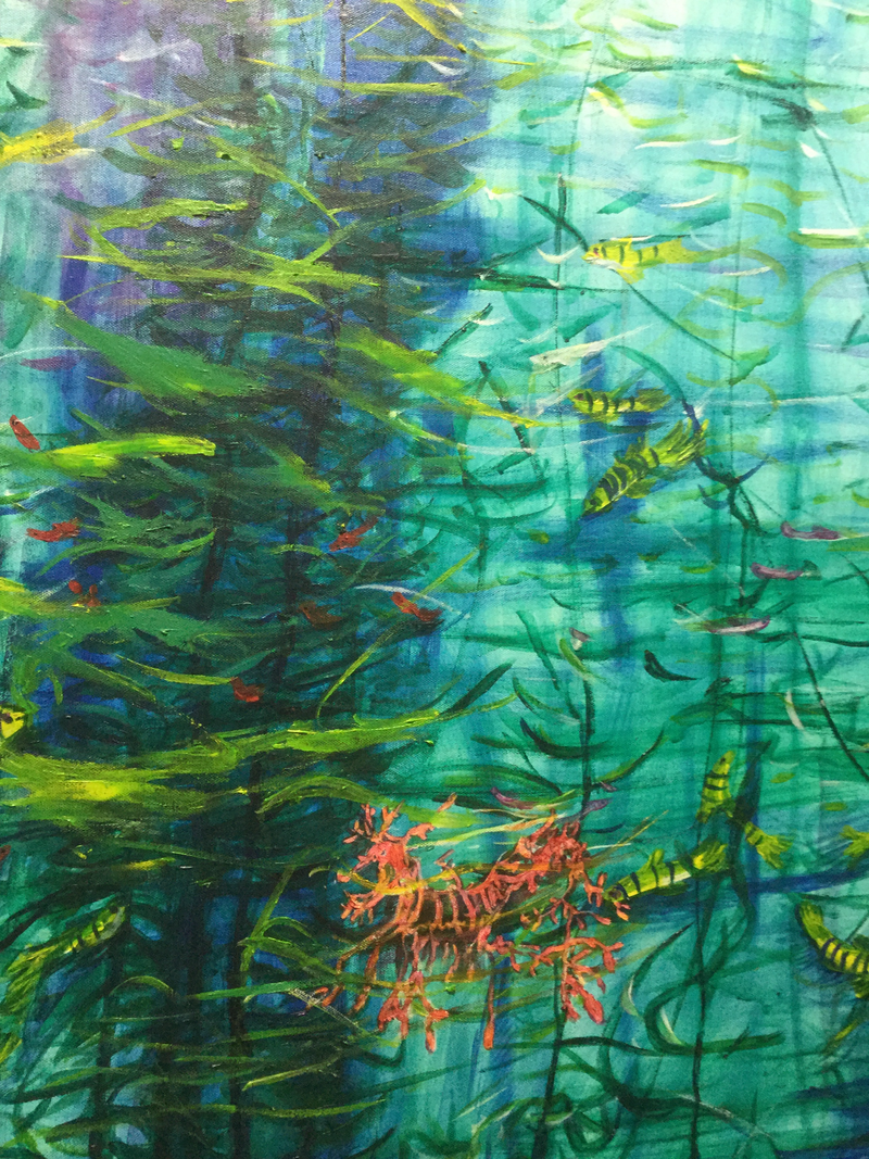 (CreativeWork) In the kelp forest by Janifer Dobbs. Oil Paint. Shop online at Bluethumb.
