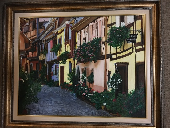 (CreativeWork) Cobbled stone village street in Alsace in France bordering Germany Ed. 1 of 25 by Myriam Malengret. Print. Shop online at Bluethumb.