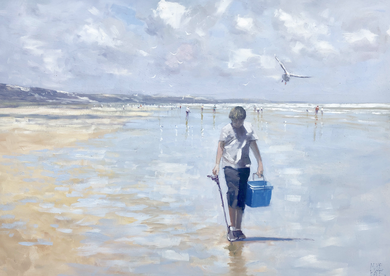 (CreativeWork) Gone Fishin' -  beachscape in oil by Mike Barr. Oil Paint. Shop online at Bluethumb.