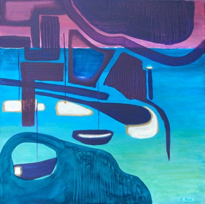 (CreativeWork) City Lights by Kathy Best. Acrylic Paint. Shop online at Bluethumb.