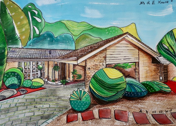 (CreativeWork) THE M & E HOUSE (COMMISSION) by Lily Iris. Acrylic Paint. Shop online at Bluethumb.
