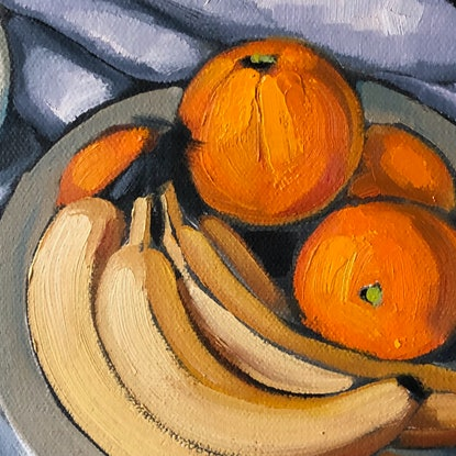 (CreativeWork) Still life in orange and banksia (unframed) by kirsty mcintyre. Oil Paint. Shop online at Bluethumb.