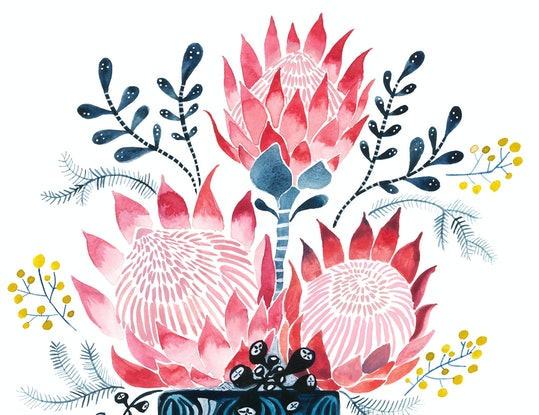(CreativeWork) Pink Proteas in West German Onion Vase Ed. 23 of 25 by Sally Browne. Print. Shop online at Bluethumb.