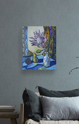 (CreativeWork) Protea by Katerina Apale. Acrylic Paint. Shop online at Bluethumb.