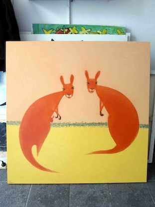 (CreativeWork) Kangaroo Family  by John Graham. Oil Paint. Shop online at Bluethumb.
