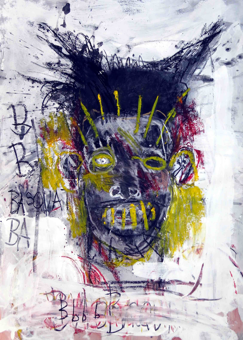 (CreativeWork) Hommage to Basquiet - A Portrait  by John Graham. Mixed Media. Shop online at Bluethumb.
