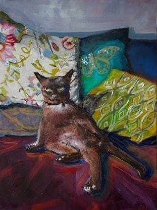 (CreativeWork) Cat interrupted, Burmese on the couch by fiona smith. Oil Paint. Shop online at Bluethumb.