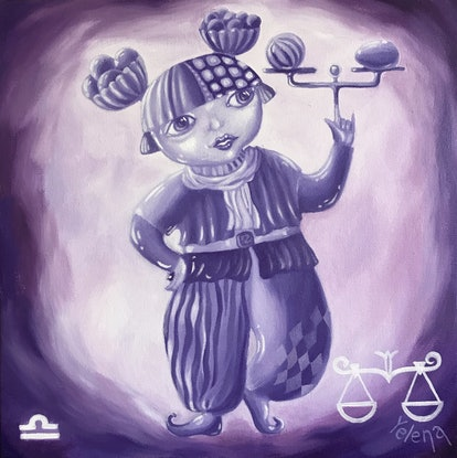 (CreativeWork) Libra: The Scales - original oil on canvas artwork, ready to hang by Yelena R. Oil Paint. Shop online at Bluethumb.