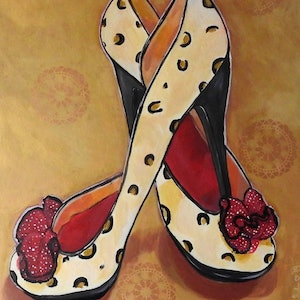 (CreativeWork) Sassy - High Heel Shoes by Julie Hollis. arcylic-painting. Shop online at Bluethumb.