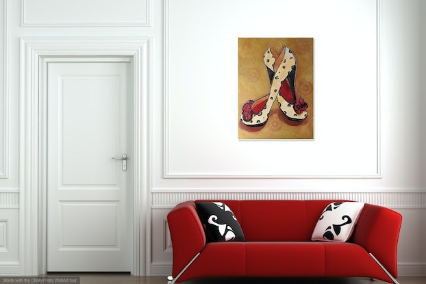 (CreativeWork) Sassy - High Heel Shoes by julie hollis. Acrylic Paint. Shop online at Bluethumb.