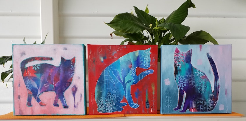 (CreativeWork) Cats Triptych  by Debra Sutton. Acrylic Paint. Shop online at Bluethumb.