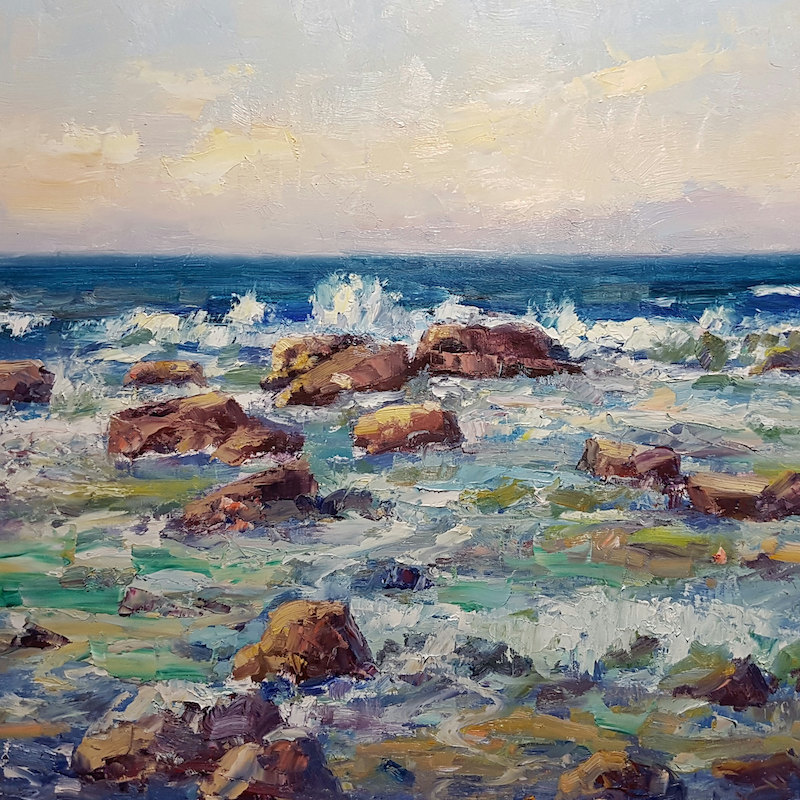 (CreativeWork) Incoming Tide. Shelley Beach. Caloundra. Qld by Barry Back. Oil Paint. Shop online at Bluethumb.