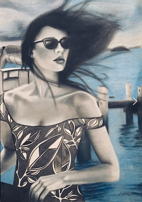 (CreativeWork) Waiting for the Water Taxi - figurative realism by Lee Wilde. Drawings. Shop online at Bluethumb.