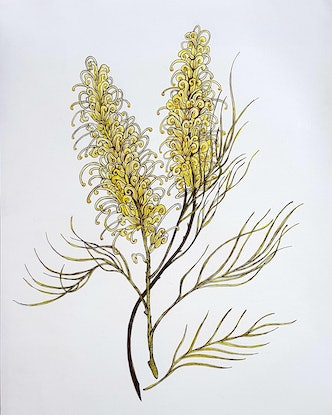 (CreativeWork) Moonlight Grevillea by Jeanette Giroud. Mixed Media. Shop online at Bluethumb.