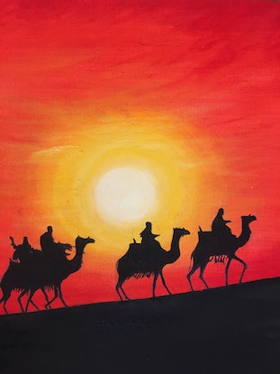 (CreativeWork) Sunset outside Dubai Ed. 1 of 15 by Myriam Malengret. Print. Shop online at Bluethumb.