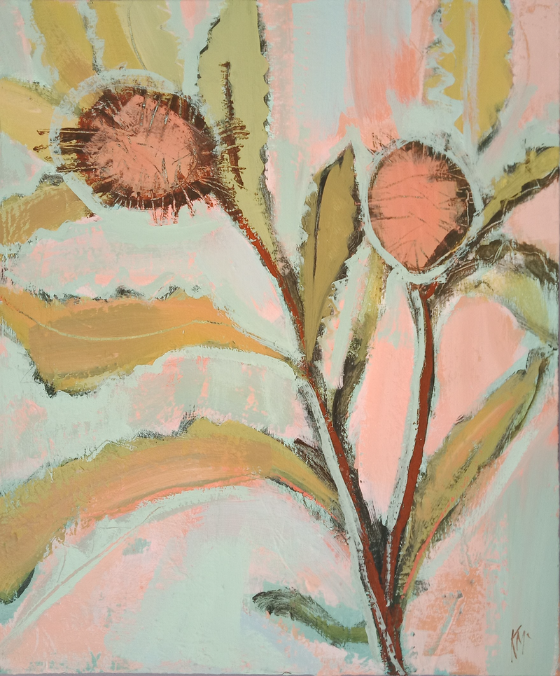 (CreativeWork) BANKSIA BLOOMS by Karen McPhee. Acrylic Paint. Shop online at Bluethumb.