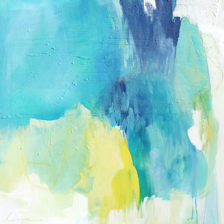 (CreativeWork) Rainforest flight - Square, blue, yellow abstract by Stephanie Laine. Mixed Media. Shop online at Bluethumb.