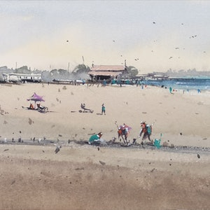 (CreativeWork) port melbourne 3 by jianqiang xu. watercolour. Shop online at Bluethumb.