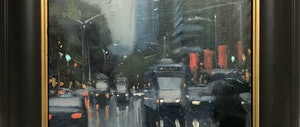 (CreativeWork) Trams in the rain - Melbourne street scene by Mike Barr. oil-painting. Shop online at Bluethumb.