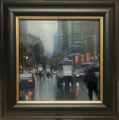 (CreativeWork) Trams in the rain - Melbourne street scene by Mike Barr. Oil Paint. Shop online at Bluethumb.