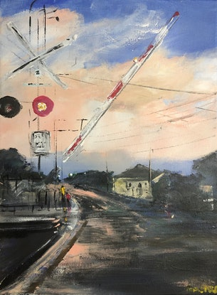 (CreativeWork) Waiting to Cross by Tina Barr. Acrylic Paint. Shop online at Bluethumb.