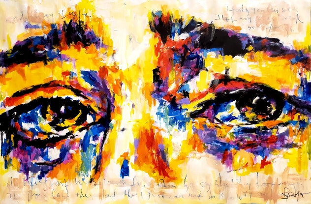 (CreativeWork) His Eyes Don't Lie by Rebecca lam. Acrylic Paint. Shop online at Bluethumb.