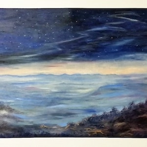 (CreativeWork) 'Evening Descends' by Susan Capan. oil-painting. Shop online at Bluethumb.