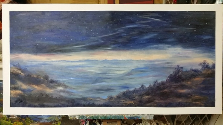 (CreativeWork) 'Evening Descends' by Susan Capan. Oil Paint. Shop online at Bluethumb.