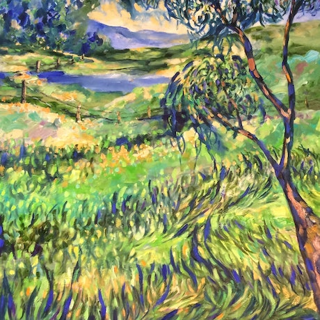(CreativeWork) Bathurst meadow 1 by sue bannister. Oil Paint. Shop online at Bluethumb.