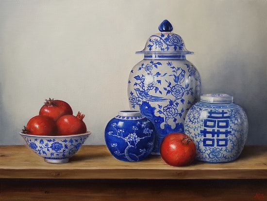 (CreativeWork) Blue & white chinaware with pomegranates  by Natasha Junmanee. Oil Paint. Shop online at Bluethumb.